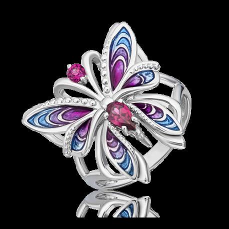 Кольцо из серебра с гранатом и эмалью - PLATINA Jewelry