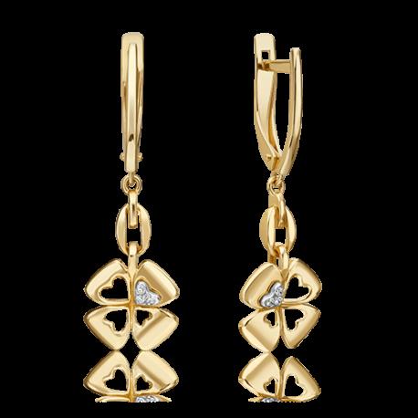 Серьги из желтого золота с бриллиантом - PLATINA  Jewelry