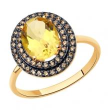 716679 - Кольцо из золота с цитринами и фианитами SOKOLOV