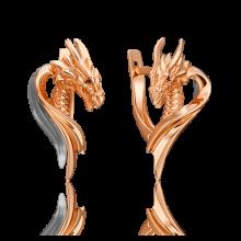 """Серьги из золота с эмалью """"ДРАКОН"""" - PLATINA Jewelry"""