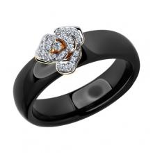 6015021 - Кольцо из черной керамики с золотом и бриллиантом, SOKOLOV