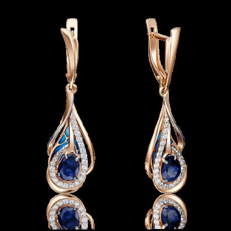 Серьги из золота с сапфиром, бриллиантами и эмалью - PLATINA Jewelry
