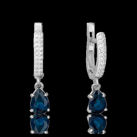 Серьги из золота с сапфиром и бриллиантами- PLATINA Jewelry