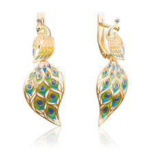 """Серьги """"Павлин""""из золота с эмалью арт. 02-3951-00-000-1130-59, Платина"""