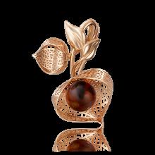 """Брошь """"Физалис"""" из золота с эмалью арт. 04-0167-00-271-1110-58, Платина Кострома"""