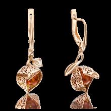 """Серьги из золота с янтарем и эмалью """"Физалис"""" PLATINA Jewelry"""