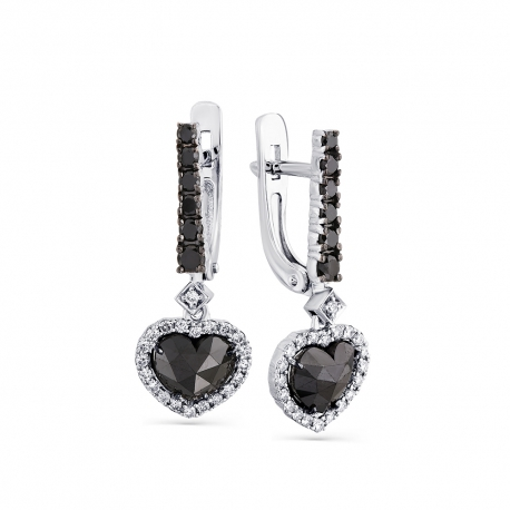"""2-107-798-55 Серьги из золота с черным бриллиантом """"Сердце"""", МАСТЕР БРИЛЛИАНТ"""