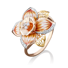 """Кольцо """"Нарцисс"""" из золота с эмалью арт. 01-4883-00-401-1113-65, Платина"""