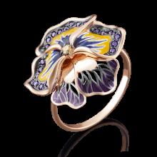 """Кольцо """"Виола"""" из золота с эмалью арт. 01-4847-00-404-1110-65, Платина"""