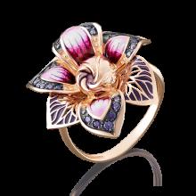 Кольцо-цветок из золота с эмалью арт. 01-4885-00-404-1110-65, ПЛАТИНА КОСТРОМА