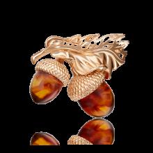 "Брошь ""Желуди"" из золота с эмалью арт.04-0166-01-271-1110-46 PLATINA Jewelry"