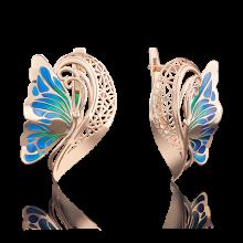 """Серьги """"Бабочка"""" из золота с эмалью арт. 02-3769-00-000-1110-48 Платина"""