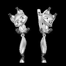 Серьги из серебра с эмалью PLATINA Jewelry - Белочка