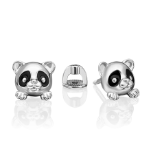 Серьги из серебра с эмалью PLATINA Jewelry - Панда