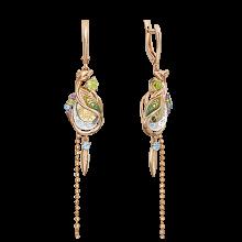 """Серьги из золота с хризолитом и эмалью PLATINA Jewelry - """"Павлин"""""""