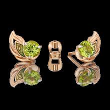"""Серьги из золота с хризолитом и эмалью PLATINA Jewelry - пусеты """"Перо Павлина"""""""
