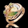 """Кольцо из золота с хризолитом и эмалью PLATINA Jewelry - """"Павлин"""""""