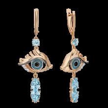 """Серьги из золота с топазом и эмалью PLATINA Jewelry - """"Взгляд"""""""