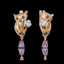 """Серьги из золота с аметистом и эмалью PLATINA Jewelry - """"Совы"""""""