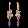 """Серьги из золота с аметистом и эмалью PLATINA Jewelry - """"Сова с песочными часами"""""""