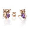 """Серьги из золота с аметистом и эмалью PLATINA Jewelry - """"Совушки"""""""