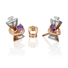 """Серьги из золота с аметистом и эмалью PLATINA Jewelry - """"Песочные часы"""""""