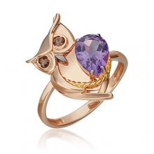 """Кольцо из золота с аметистом и эмалью PLATINA Jewelry - """"Сова"""""""