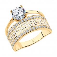 93010318 Кольцо из позолоченного серебра с эмалью и фианитами, SOKOLOV