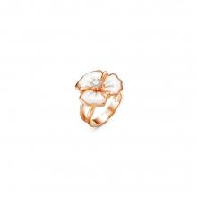 2388611 Кольцо из позолоченного серебра с эмалью и фианитами, Красная Пресня